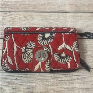 Vera Bradley Deco Daisy Large Zip Wallet Clutch